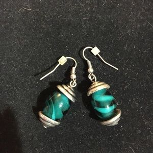 Antiqued silver plated glass bead earrings